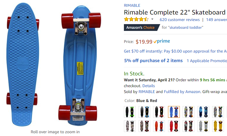 Amazon com   Rimable Complete 22  Skateboard  Blue   Red    Sports   Outdoors.png