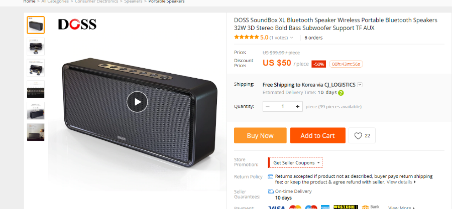 DOSS SoundBox XL Bluetooth Speaker Wireless Portable Bluetooth Speakers 32W 3D Stereo Bold Bass Subwoofer Support TF AUX in Portable Speakers from Consumer Electronics   border=