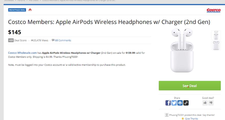 뽐뿌:해외뽐뿌 - Costco Members: Apple AirPods Wireless